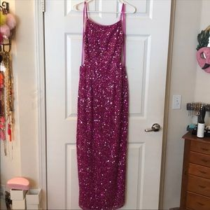 SCALA full pink beaded/sequin maxi gown/dress